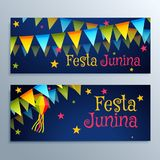 Festa junina holiday festival banners set. Vector Royalty Free Stock Photos