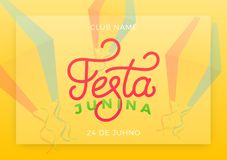 Festa Junina. Holiday layout design for Brazilian June festa de Sao Joao. Festive lettering and sky lanterns.  Royalty Free Stock Image