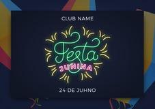Festa Junina. Holiday layout design for Brazilian June festa de Sao Joao. Festive neon lettering and sky lanterns.  Royalty Free Stock Images