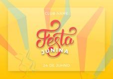 Festa Junina. Holiday layout design for Brazilian June festa de Sao Joao. Festive lettering and sky lanterns.  Royalty Free Stock Photo