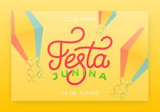 Festa Junina. Holiday layout design for Brazilian June festa de Sao Joao. Festive lettering and sky lanterns.  Stock Images