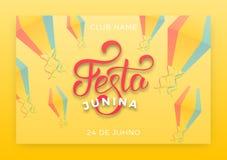 Festa Junina. Holiday layout design for Brazilian June festa de Sao Joao. Festive lettering and sky lanterns.  Stock Photo