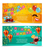 Festa Junina Horizontal Banners. With garland of flags colored balloons bowl of popcorn and glass of red wine with spices flat vector illustration Royalty Free Stock Images