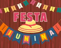 Festa Junina icon. Festa Junina Latin American holiday. Festive party text flyer template. Traditional Brazil June folklore festival event colorful background Stock Photos