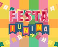 Festa Junina icon. Festa Junina Latin American holiday. Festive party text flyer template. Traditional Brazil June folklore festival event colorful background Royalty Free Stock Photos