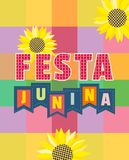 Festa Junina icon. Festa Junina Latin American holiday. Festive party text flyer template. Traditional Brazil June folklore festival event colorful background Stock Photography