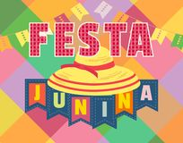 Festa Junina icon. Festa Junina Latin American holiday. Festive party text flyer template. Traditional Brazil June folklore festival event colorful background Stock Image