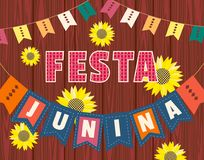 Festa Junina icon. Festa Junina Latin American holiday. Festive party text flyer template. Traditional Brazil June folklore festival event colorful background Stock Photo