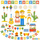Festa junina icons set. Flat vector cartoon illustration. Objects isolated on a white background Royalty Free Stock Images