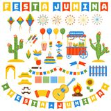 Festa junina icons set. Flat vector cartoon illustration. Objects isolated on a white background Stock Photography
