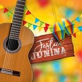 Festa Junina illustration med den akustiska gitarren, partiflaggor och den pappers- lyktan på gul bakgrund Typografi på stock illustrationer