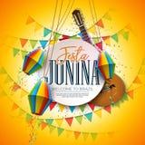 Festa Junina illustration med den akustiska gitarren, partiflaggor och den pappers- lyktan p? gul bakgrund Typografi p? stock illustrationer