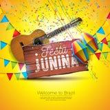 Festa Junina illustration med den akustiska gitarren, partiflaggor och den pappers- lyktan p? gul bakgrund Typografi p? vektor illustrationer