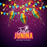 Festa Junina illustration med flaggor och pappers- lykta på konfettibakgrund Design f?r vektorBrasilien Juni festival f?r vektor illustrationer