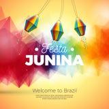 Festa Junina illustration med onAbstractbakgrund för pappers- lykta Design för vektorBrasilien Juni festival för hälsningkort royaltyfri illustrationer