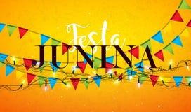 Festa Junina illustration med partiflaggor, den ljusa girlanden och typografibokstaven på gul bakgrund Vektor Brasilien Juni royaltyfri illustrationer