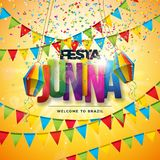 Festa Junina illustration med partiflaggor, den pappers- lyktan, färgrika konfettier och typografibokstaven på gul bakgrund stock illustrationer