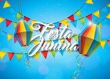 Festa Junina illustration med partiflaggor och pappers- lykta på gul bakgrund Design för vektorBrasilien Juni festival stock illustrationer