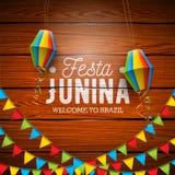Festa Junina illustration med partiflaggor och pappers- lykta på tappningträbakgrund VektorBrasilien Juni festival stock illustrationer