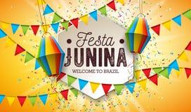 Festa Junina illustration med partiflaggor och pappers- lykta p? gul bakgrund Design f?r vektorBrasilien Juni festival royaltyfri illustrationer
