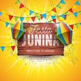 Festa Junina illustration med partiflaggor och pappers- lykta p? gul bakgrund Design f?r vektorBrasilien Juni festival stock illustrationer
