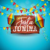 Festa Junina Illustration with Party Flags and Paper Lantern on Blue Background. Vector Brazil June Festival Design for. Greeting Card, Invitation or Holiday vector illustration