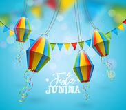 Festa Junina Illustration with Party Flags and Paper Lantern on Blue Background. Vector Brazil June Festival Design for. Greeting Card, Invitation or Holiday Royalty Free Stock Images