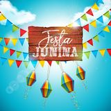 Festa Junina Illustration with Party Flags and Paper Lantern on Blue Cloudy Sky Background. Vector Brazil June Festival. Design for Greeting Card, Invitation or Stock Image