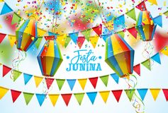 Festa Junina Illustration with Party Flags and Paper Lantern on White Background. Vector Brazil June Festival Design for. Greeting Card, Invitation or Holiday Stock Image