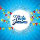 Festa Junina Illustration with Party Flags and Paper Lantern on Yellow Background. Vector Brazil June Festival Design. For Greeting Card, Invitation or Holiday Royalty Free Stock Photos