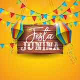 Festa Junina Illustration with Party Flags and Paper Lantern on Yellow Background. Vector Brazil June Festival Design. For Greeting Card, Invitation or Holiday Royalty Free Stock Photo