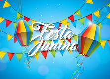 Festa Junina Illustration with Party Flags and Paper Lantern on Yellow Background. Vector Brazil June Festival Design. For Greeting Card, Invitation or Holiday stock illustration