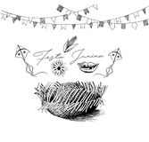 Festa Junina illustration - traditional Brazil june festival. Party, Party decoration vector. Bunting banners Stock Images