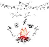Festa Junina illustration - traditional Brazil june festival. Party, Party decoration vector. Bunting banners Stock Photos