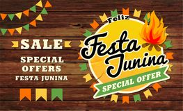 Festa Junina illustration traditional. Brazil June festival party. Vector illustration. Latin American holiday. Festa Junina illustration traditional Brazil Royalty Free Stock Photo