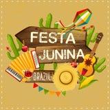 Festa Junina illustration traditional Brazil June festival party. Vector illustration. Latin American holiday. Festa Junina illustration traditional Brazil June Royalty Free Stock Photo