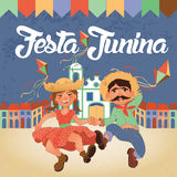 Festa Junina illustration - traditionellt Brasilien Juni festivalparti Royaltyfri Foto