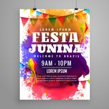 Festa junina invitation flyer template design. Vector Royalty Free Stock Photos