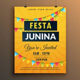 Festa junina invitation poster design with garlands Royalty Free Stock Images