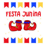 Festa Junina - June Festival, National Brazilian holiday. Red clown shoes and flags Royalty Free Stock Images