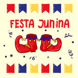 Festa Junina - June Festival, National Brazilian holiday. Red clown shoes and flags Royalty Free Stock Photos