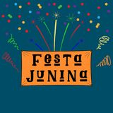 Festa Junina June Festival in Portuguese language. Illustration with fireworks and confetti on dark Background. Brazil June Festival Design for Greeting Card Royalty Free Stock Photography
