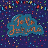 Festa Junina, June Festival in Portuguese language. Illustration with Party Flags and confetti on dark Background. Brazil June Festival Design for Greeting Stock Photography
