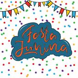 Festa Junina, June Festival in Portuguese language. Festa Junina June Festival in Portuguese language Illustration with Party Flags and confetti on white Stock Image