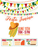 Festa Junina (June party) marketing design. Stock Photo