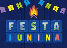 Festa Junina icon. Festa Junina Latin American holiday. Festive party text flyer template. Traditional Brazil June folklore festival event colorful background Royalty Free Stock Photo