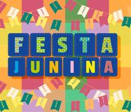 Festa Junina icon. Festa Junina Latin American holiday. Festive party text flyer template. Traditional Brazil June folklore festival event colorful background Royalty Free Stock Image