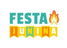 Midsummer bonfire text. Festa Junina Latin American holiday. Traditional Brazil June folklore festival party. Fancy letters. Greeting text and Bonfire icon Royalty Free Stock Photos