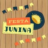 Festa Junina, logotipo do fest de junho do brasileiro com elementos Imagens de Stock