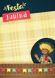 Festa Junina, modello del partito di giugno del brasiliano o invita - A5 Immagini Stock Libere da Diritti
